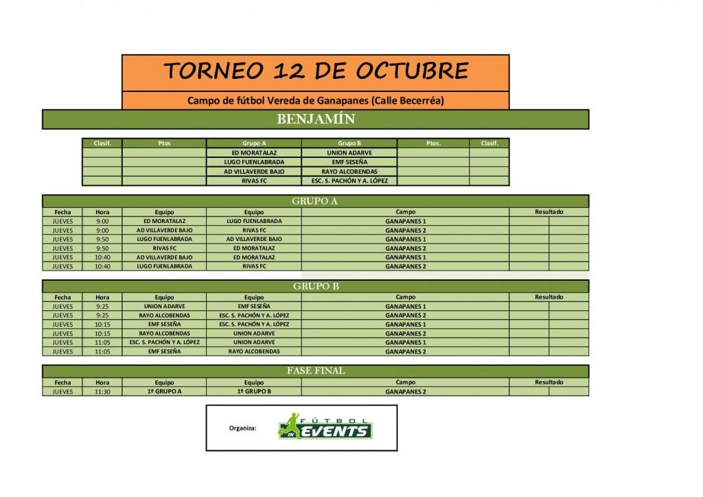 Horario Torneo 12 de octubre BENJAMÍN