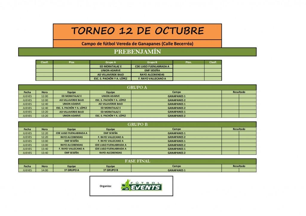 Horario Torneo 12 de octubre PREBENJAMÍN
