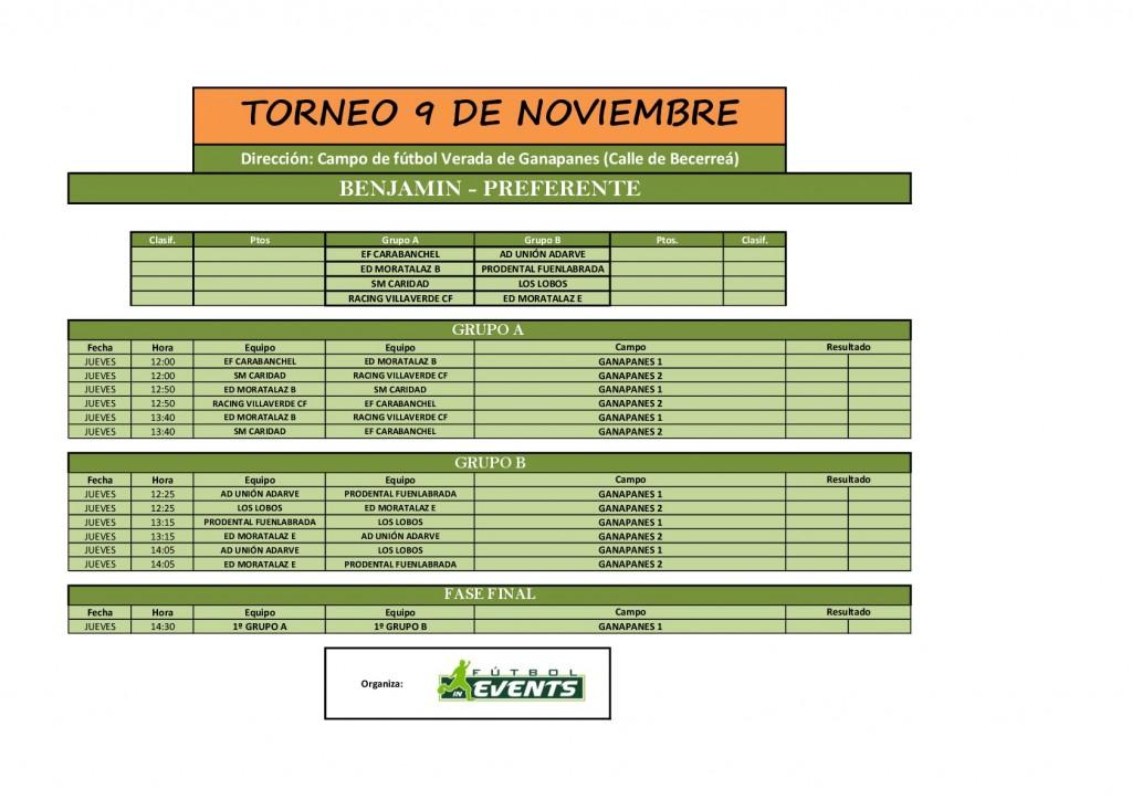 Torneo 9 de noviembre Benjamín Preferente Fútbol In Events